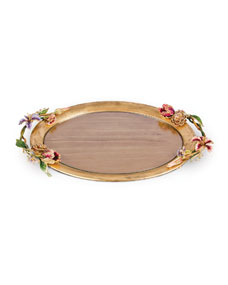 Sale Jay Strongwater Floral Oval Tray Best Designer