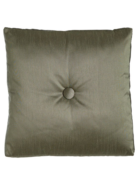 "Le Plaza Solid-Color Box Pillow with Button Center, 20""Sq."