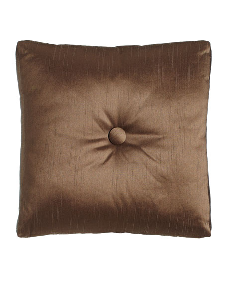 Le Plaza Solid-Color Box Pillow with Button Center,
