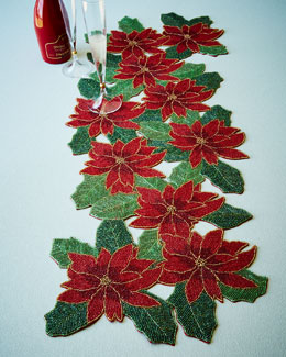 Poinsettia Beaded Table Runner