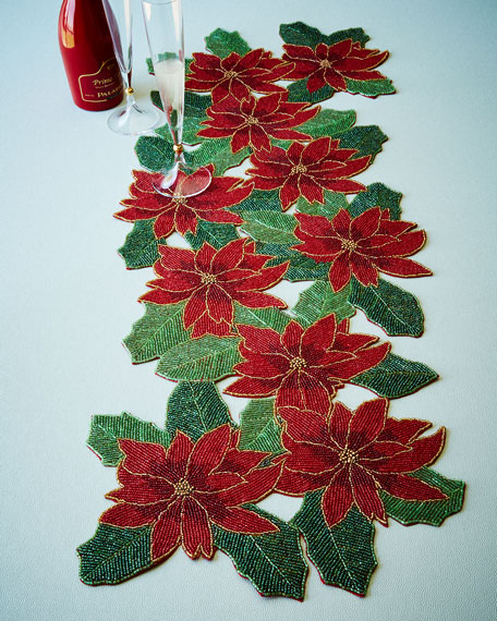 Divine Designs Poinsettia Beaded Table Runner