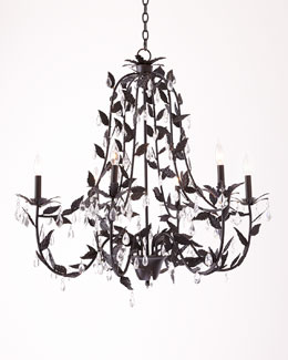 Cascading Leaves Antiqued-Bronze Six-Light Chandelier