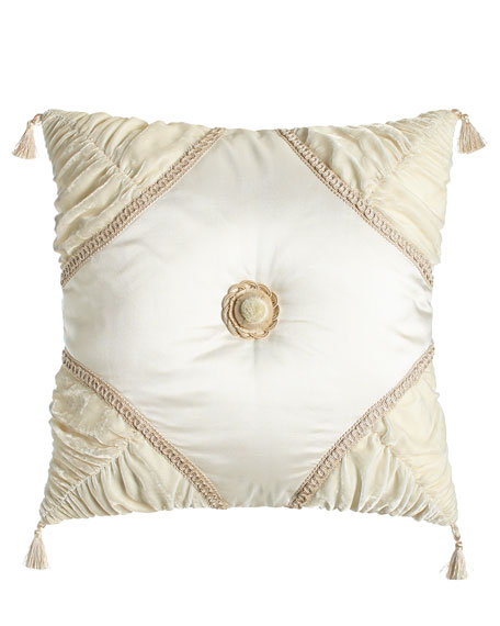 "Square Capello Pillow with Rosette, 20""Sq."