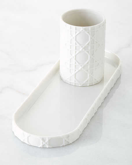 Kassatex Cane Embossed Porcelain Vanity Tray