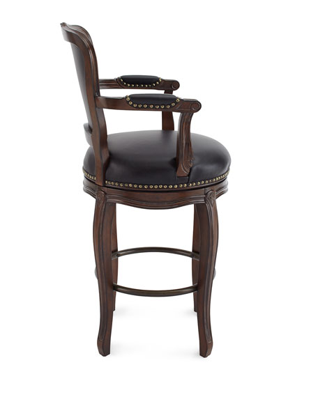 Roman Swivel Leather Barstool