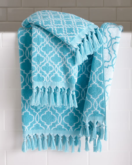 Tangiers Fringed Ogee Pattern Face Cloth