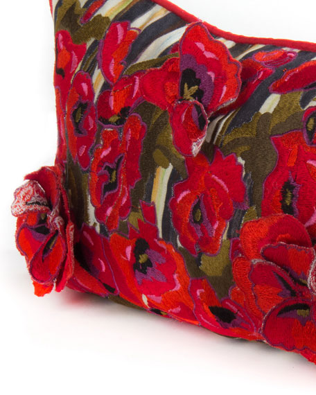 "Poppy Garden Lumbar Pillow, 38"" x 8"""