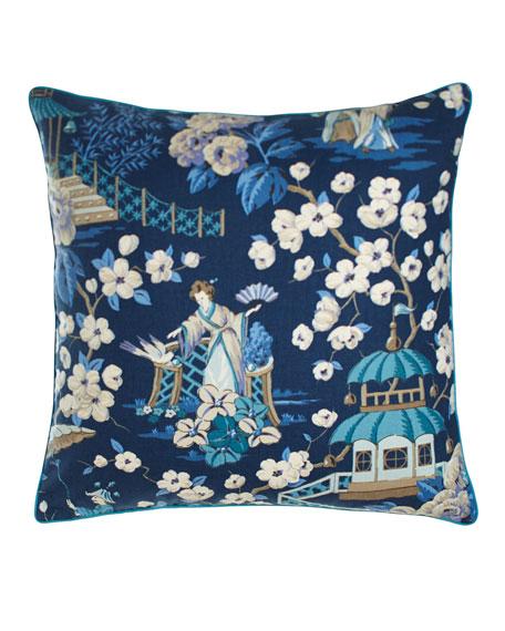 """Ming Pagoda Summer Palace Pillow, 22""""Sq."""