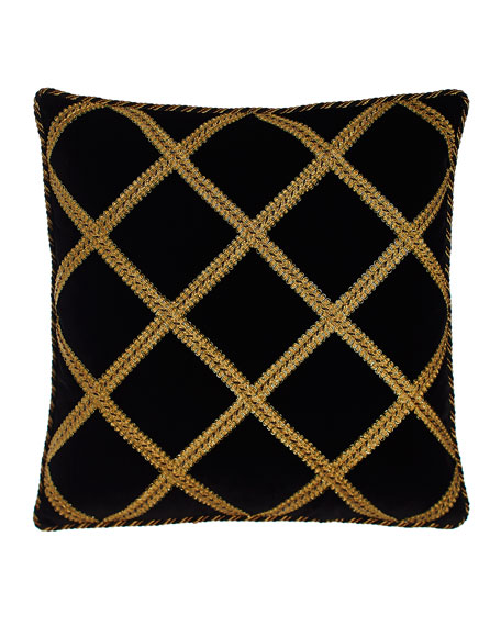 European Marrakesh Black Velvet Sham with Gimp Trellis