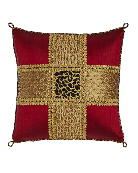 "Marrakesh Beaded Silk Pillow with Leopard Center, 15""Sq."