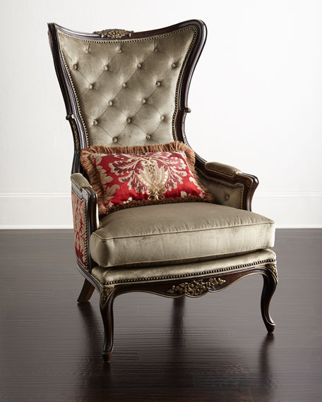 Paley Damask Wing Chair