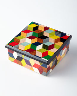 Inlaid Cube Wood Box