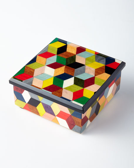 Inlaid Cube Wood Box