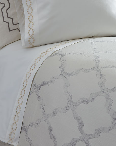 Queen Diamond Eyelet 400 Thread-Count Flat Sheet