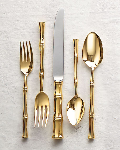 Ricci Silversmith 20-Piece Gold Bamboo Flatware Service