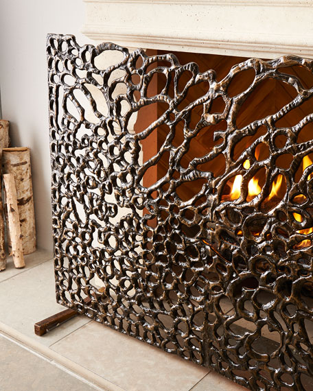 Organic Bronze Fireplace Screen
