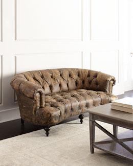 Carson Tufted Leather Sofa