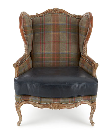 Sienna Blue Leather Wing Chair