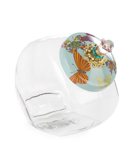 Cookie Jar with Sky Butterfly Garden Lid