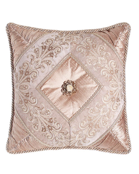 "Dahlia Pillow with Rosette, 18""Sq."