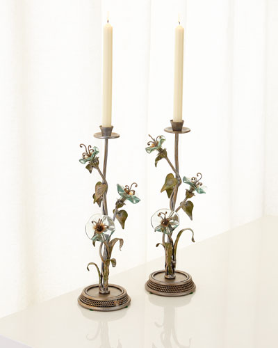 Morning Glory Candlestands, Set of 2