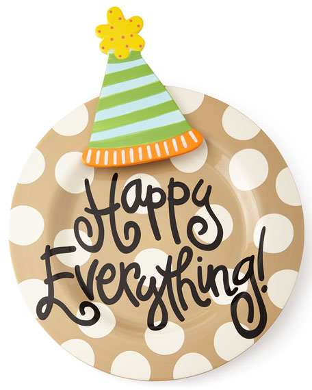 Happy Everything Neutral-Dot Big Platter with Party Hat