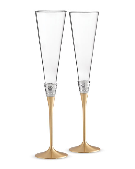 Vera Wang Golden With Love Toasting Flutes, Set