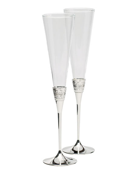 Vera Wang Silver With Love Toasting Flutes, Set