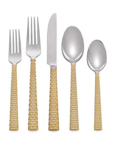 Michael Aram 5-Piece Palm Golden Flatware Place Setting