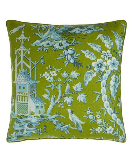 """Pagoda Garden Toile Pillow, 22""""Sq."""