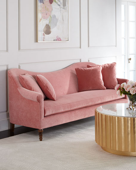 Scalloped back pink velvet sofa