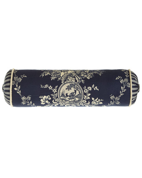 """Country Toile Neckroll Pillow, 6"""" x 20"""""""