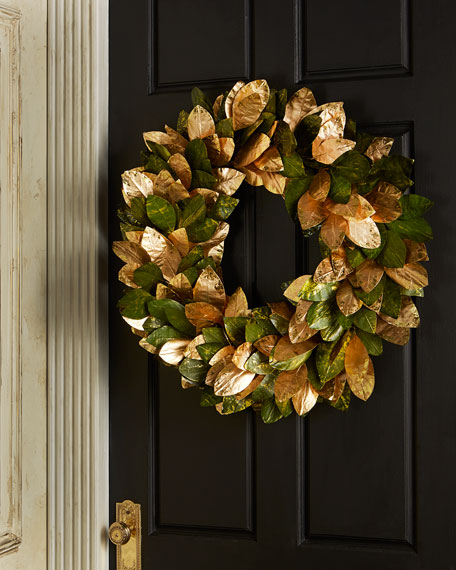 "Magnolia Leaf Wreath: Green & Gold Magnolia Leaf 28"" Wreath"
