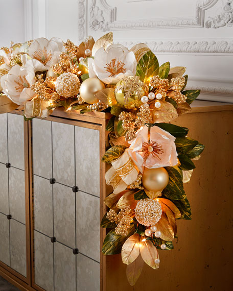 After Christmas Furniture Sales: Winter White & Gold Pre-Lit 6' Christmas Garland