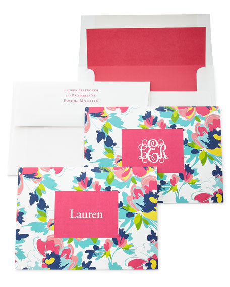 Carrie Floral Folded Notes with Personalized Envelopes