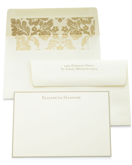 Correspondence Cards Hand Bordered in Taupe With Personalized