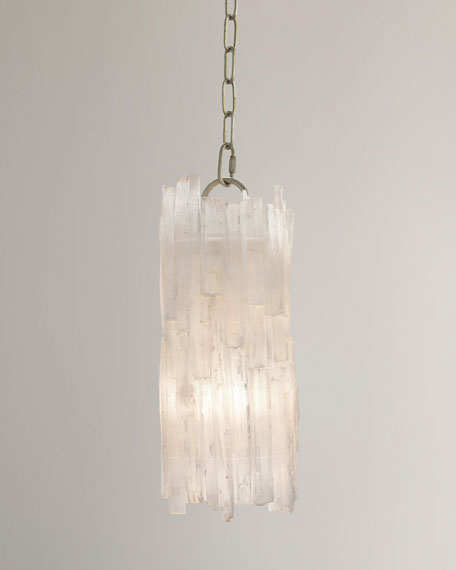 Natural Selenite-Shaded 1-Light Pendant