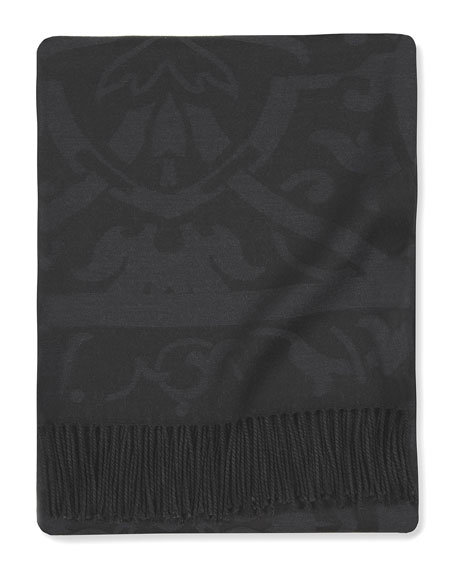 "Black Damask Throw, 50"" x 71"""