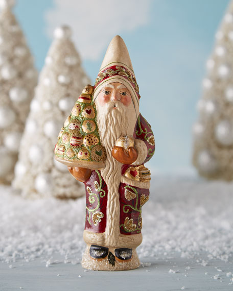 Santa in Burgundy Coat Figure