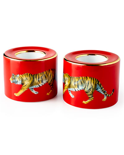 Tiger Red Tea Light Holders, Set of 2
