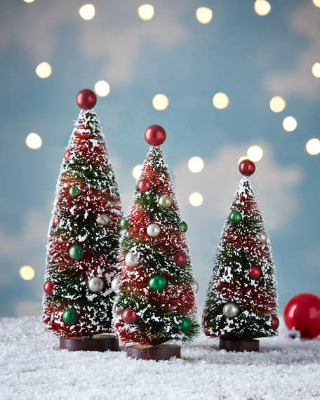 bethany lowe primitive christmas bottle brush trees 3 piece set - Primitive Christmas Trees