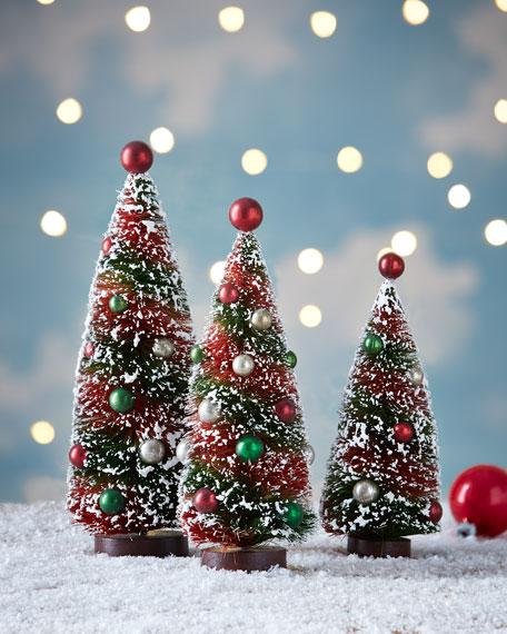 Primitive Christmas Bottle Brush Trees, 3-Piece Set