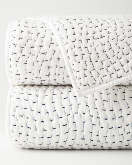 Queen Hand-Sti Thread Counthed Voile Coverlet