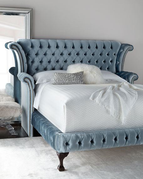 Carter Teal Queen Tufted Bed