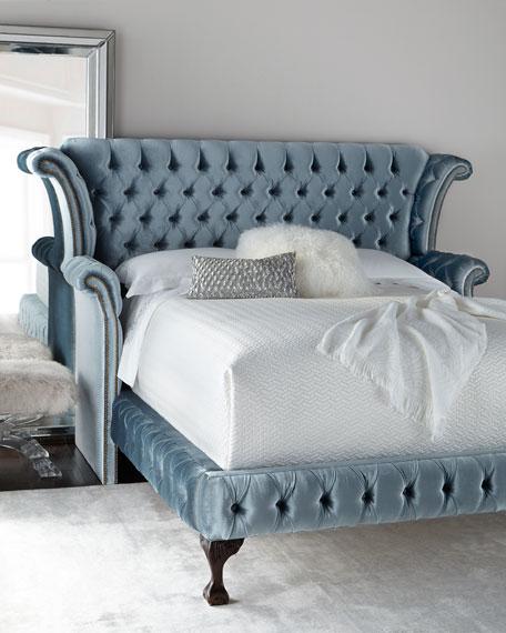 Carter Teal Tufted King Bed