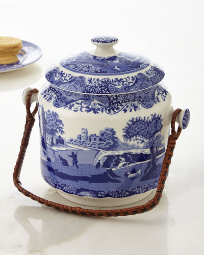 Blue Italian Biscuit Barrel