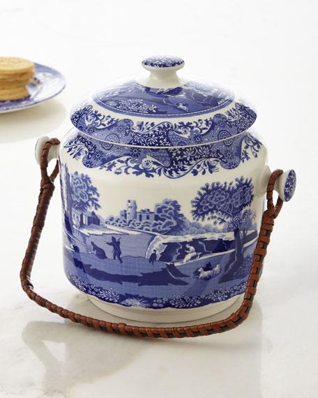 Blue Italian Biscuit Barrel