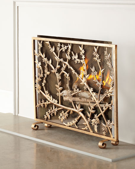 Golden Flowers and Branches Fireplace Screen