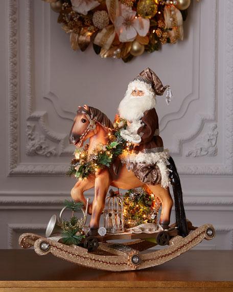 Karen Didion Originals Platinum Rocking Horse Santa