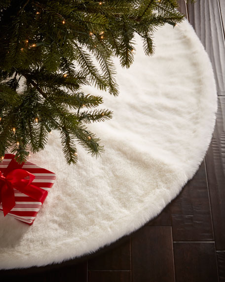 Faux Fur White Mink Christmas Tree Skirt